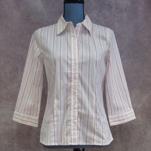 NEW Old Navy Perfect Fit Pink Striped Shirt Size M